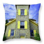 Bois Blanc Island Historic Lighthouse Throw Pillow by Sally Sperry