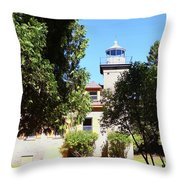 Bois Blanc Island Lighthouse Tower And Living Quarters Throw Pillow by Sally Sperry