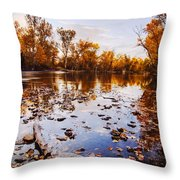 Boise River Autumn Glory Throw Pillow