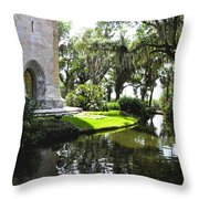 Bok Tower With Moat Throw Pillow
