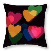 Bokeh Hearts 3 Throw Pillow