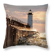 Bokeh On Lake Michigan Throw Pillow by Fran Riley