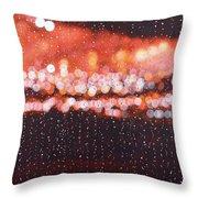 Bokeh - Rainy Night On Mercer Street Throw Pillow