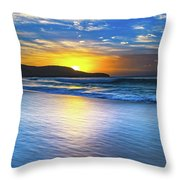 Bold And Blue Sunrise Seascape Throw Pillow