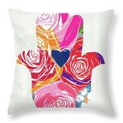 Bold Floral Hamsa- Art By Linda Woods Throw Pillow