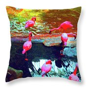 Bold Modified Flamingoes Throw Pillow