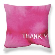 Bold Pink And White Watercolor Thank You- Art By Linda Woods Throw Pillow