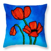 Bold Red Poppies - Colorful Flowers Art Throw Pillow