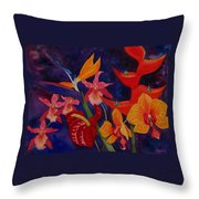 Bold Tropical Flowers Throw Pillow