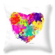 Bold Watercolor Heart - Digital Art Throw Pillow