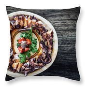 Bolied Octopus In Spicy Sauce Tapas Starter Throw Pillow