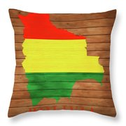 Bolivia Rustic Map On Wood Throw Pillow