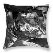 Bolivian Dance Black And White Throw Pillow