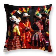 Bolivian Typical Costume Throw Pillow