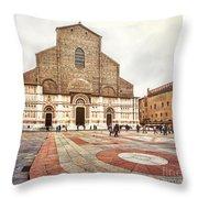 Bologna, Italy San Petronio Basilica Facade Crescentone Throw Pillow