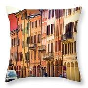 Bologna Window Balcony Texture Colorful Italy Buildings Throw Pillow