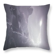 Bolting Bull Throw Pillow