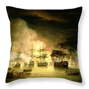 Bombardment Of Algiers Throw Pillow by Thomas Luny