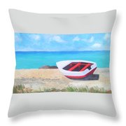 Bonaire Boat  Throw Pillow