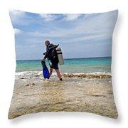 Bonaire Shore Diving 3 Throw Pillow