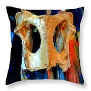 Bone And Paint Abstract Throw Pillow