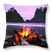 Bonfire On The Beach, Point Of The Throw Pillow