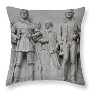 Bonham And Bowie On Alamo Monument Throw Pillow