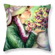 Bonnet Of Flowers Throw Pillow