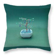 Bonsai Wire Tree Sculpture Beaded Grape Gems      Throw Pillow