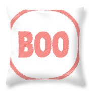 Boo Rubber Stamp Throw Pillow