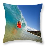 Boogie Boarding At Makena Throw Pillow