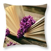Book And Flower Throw Pillow