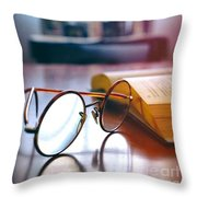 Book And Glasses Throw Pillow