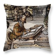 Bookkeeper, 16th Century Throw Pillow