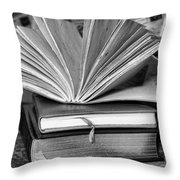 Books In Black And White Throw Pillow