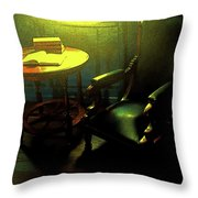 Books Tabel And Chair Throw Pillow