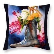 Boot Bouquet Throw Pillow by Karen Stark