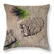 Boot Print In The Desert Throw Pillow