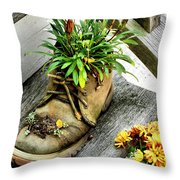 Booted Plant Throw Pillow