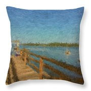 Boothbay Front Ocean View At Sunrise Throw Pillow