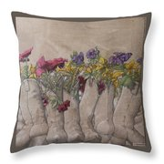 Boots And Flowers Throw Pillow