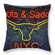 Boots And Saddle Nyc Throw Pillow