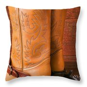 Boots With Spurs Throw Pillow by Garry Gay