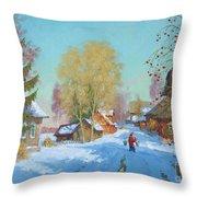 Bor Village Throw Pillow
