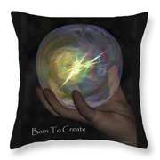 Born To Create - View With Or Without Red-cyan 3d Glasses Throw Pillow