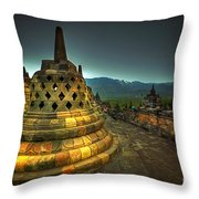 Borobudur Temple Central Java Throw Pillow
