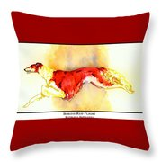 Borzoi Red Flight Throw Pillow