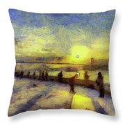 Bosphorus Sunset Art Throw Pillow
