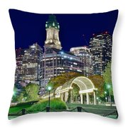 Boston Above Christopher Columbus Park Throw Pillow