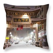 Boston Chinatown Gate During Snowsstorm Skylar Boston Ma Throw Pillow
